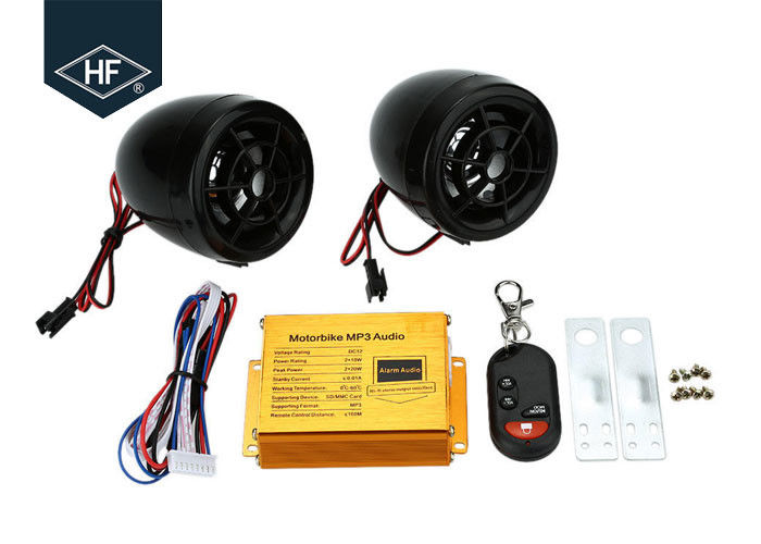 Car Audio ABS Electric Motorcycle Parts , Motorcycle Alarm System MP3 FM Radio Stereo Speaker Music